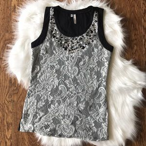 Women's lace tank with embellishments